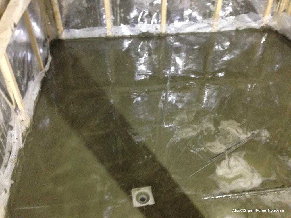 бетонный пол со сливом в бане